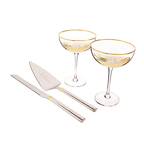 Cathy's Concepts LOV-S1240G Gold Love Coupe Flutes & Cake Flutes Serving Set Clear Platnium