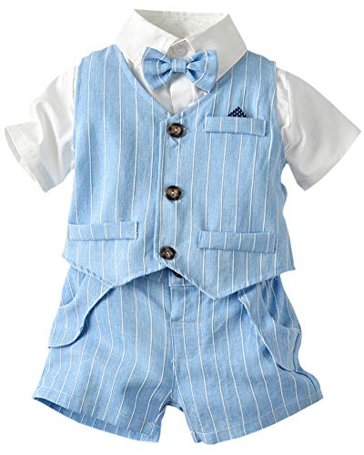 Toddler Boy Dress Clothes 3 Piece Vest Clothes Set, Baby Boys Bow Tie Outfit Clothes Suits, Little Boys Short Sleeve Button Down Shirt with Shorts Formal Dresswear, L01#Blue, 6-9 Months=Tag 70 -