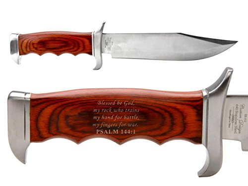 Bible Psalm 144:1 Elk Ridge ER-012 Outdoor Hunting Fixed Blade Full Tang Bowie-Style Knife by NDZ Performance