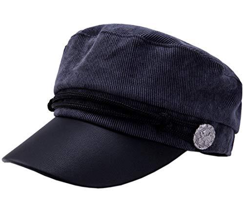 Coolwife Women's Baseball Cadet Cap Flat Top Hat Adjustable with Star Leather Radar Caps (B Grey)