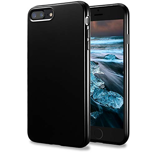 TENOC Case Compatible for Apple iPhone 7 Plus and iPhone 8 Plus 5.5 Inch, Slim Fit Soft TPU Cover Glossy Finish Coating Full Protective Bumper Black (Best Case For Jet Black Iphone)