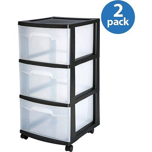 Drawers Storage Sterilite (Sterilite 3-Drawer Medium Cart, Set of 2)