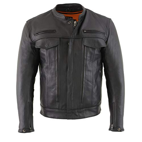 Milwaukee Leather MLM1506 Men's 'Cool-Tec' Black Leather Jacket with Utility and Gun Pockets