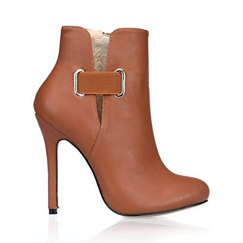 Best 4U Zapatos De Mujer Botas Cortas Otoño Invierno 12CM Tacones Altos Botines Hebilla Puntiaguda Otoño Invierno Marrón,EU39