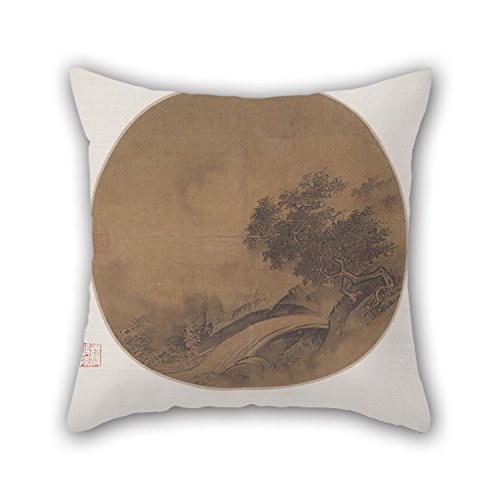 Pillowcase Of Oil Painting Artist Unknown, China - Mountain Freshet, Wind And Rain For Home Office Outdoor Lover Chair Son Kids Boys 16 X 16 Inches / 40 By 40 Cm(both Sides) - Artists Child Rocking Chair