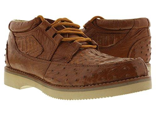El Presidente - Men's Cognac Genuine Crocodile & Ostrich Skin Sneakers 12 (Alligator Skin Shoes)
