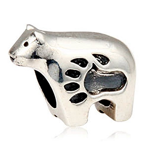 (Fits DIY Charms Bracelet 925 Sterling Silver Animal Bead Polar Bear Bead Charms European DIY Jewelry Findings)