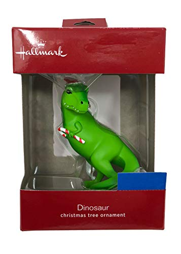 Hallmark 2018 T-Rex Dinosaur with Christmas Hat and Candy Cane Ornament -