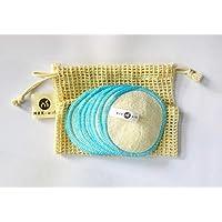 Abschminkpads Waschbar 100% Baumwolle in Blau 10er Set Inkl. Gratis E-buch & Wäschenetz aus Baumwolle ♻ Wattepads Wiederverwendbar ♻ Plastikfreie Verpackung - Zero Waste (Blau)
