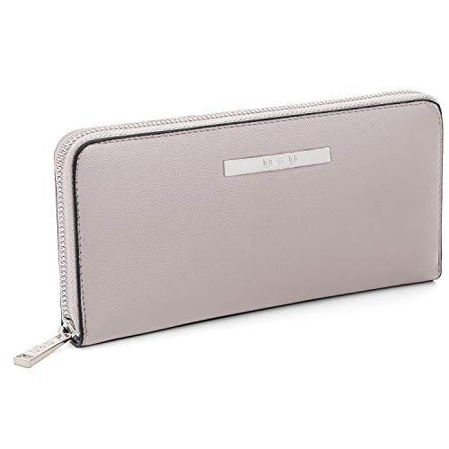 U+U Iphone Wallet Case for Women, Zipper Around Wallet Clutch Soft PU Leather, Gift For Ladies, Grey