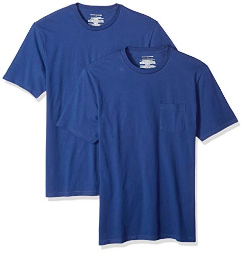 Amazon Essentials Men's 2-Pack Slim-Fit Short-Sleeve Crewneck Pocket T-Shirt, Blue, Medium