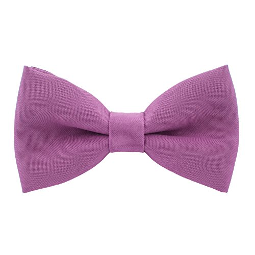 (Classic Pre-Tied Bow Tie Formal Solid Tuxedo, by Bow Tie House (Small, Mauve Rose))