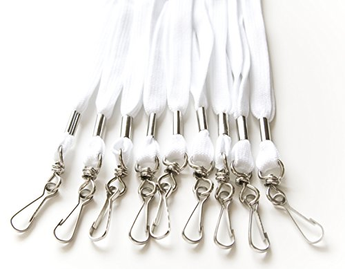 - 100pcs Flat ID Neck Lanyards for Badges, Swivel J-Hook, (White)