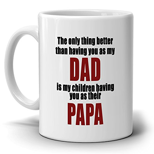 Inspirational Papa Dad Birthday and Fathers Day Gifts from Mom Coffee Mug, Printed on Both - Voucher Amazon Co Uk Gift