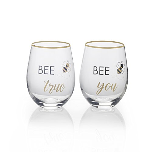 Bee Gift (Mikasa Stemless Wine Glass Gift Set, 18-Ounce, Bee True/Bee You)