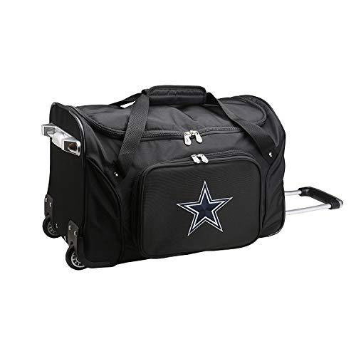 NFL Dallas Cowboys Wheeled Duffle Bag, 22 x 12 x 5.5, Black