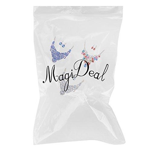 MagiDeal 3paires Boucles D'oreilles +Collier en Forme de Goutte d'Eau en Cristal Mariage Bridal