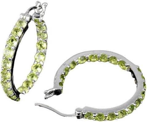 Hoop earring in Sterling Silver 925 in peridot