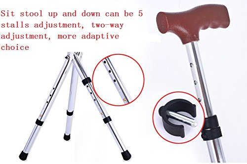 Folding Canes Seat Walking Stick Height Adjustment 221lbs Capacity Combo Chairs Stool Deluxe Massage Crutches Seat Aluminum Walking Stick Travel Aid for Elder Gift Brown by M-GYG