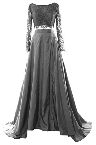 MACloth Women 2 Piece Long Sleeve Lace Maxi Prom Dress 2017 Formal ...
