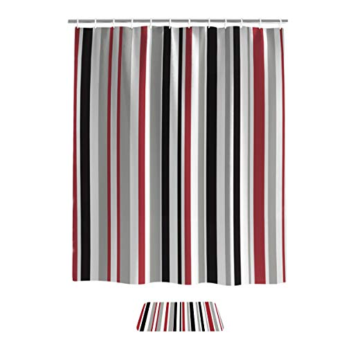 """Bathroom Sets Shower Curtain with Bath Doormat Rugs, Colorful Vertical Stripes Waterproof Fabric Shower Curtain with Hooks, 66"""" x 72"""", Non-Slip Area Mats 18"""" x 30"""""""