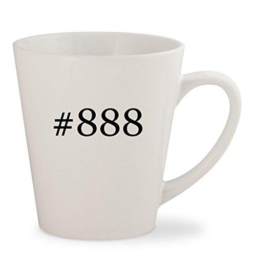#888 - White Hashtag 12oz Ceramic Latte Mug Cup