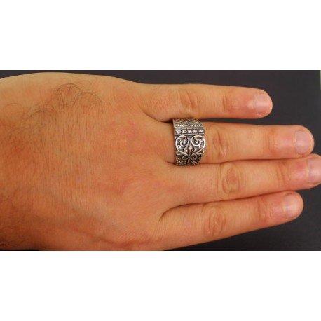 Falcon Jewelry Sterling Silver Men Ring Byzantine Empire Ring Created Zircon Stone Steel Pen Craft