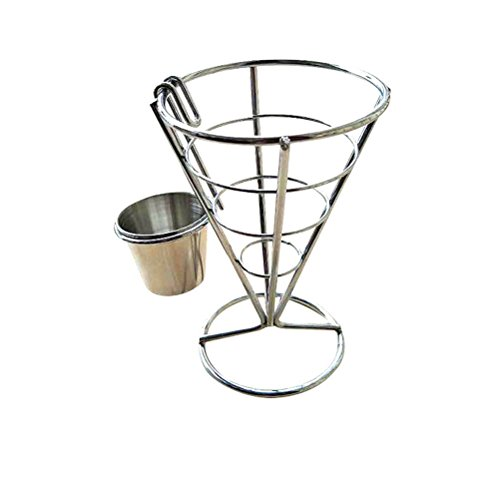 2PCS Fries Foods Stand Holder French Fry Chips Cone Metal Wire Basket with Sauce Dippers