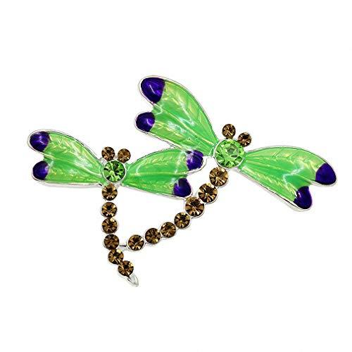 Dragonfly Enameled Brooch - Jana Winkle Green Enameled Wing and Coffee Crystal Dragonfly Brooch Pins Women Brooch Pins Animal Jewelry