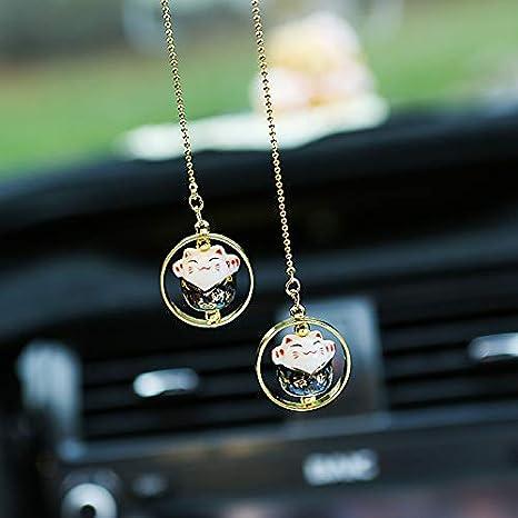 Maneki Neko Beckoning Lucky Cat Car Charm Porcelain Figurine Hanging Pendant