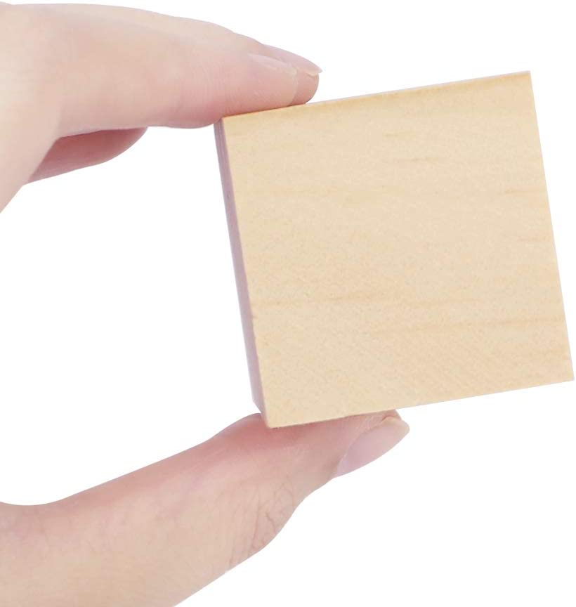 CEWOR 36Pcs 1.5 Natural Solid Wood Cubes Wood Square Blocks for Puzzle Making and Baby Shower