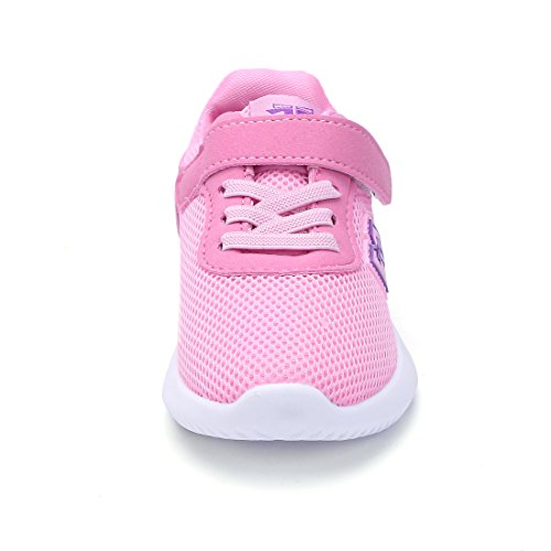 BTDREAM Boy and Girl's Breathable Fashion Sneakers Athletic Outdoor Sports Running Shoes Pink Size 26 by BTDREAM (Image #3)