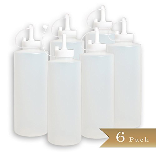 TrueCraftware Pack of 6 - Condiment Squeeze Bottle with Cap - 12 - Squeeze Condiment Bottles 12 Oz
