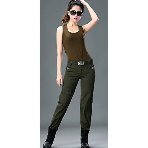 ac9b15795fc new Chouyatou Women s Military Straight Fit Work-Wear Ribstop Cargo Pants