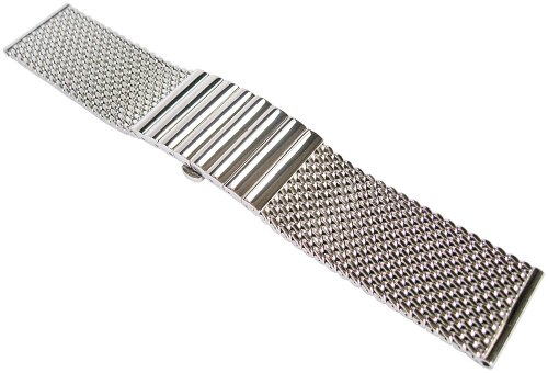 Staib 24mm Polished Mesh LONG 170mm Stainless Steel Mens Watch Band Model 2792 by Staib