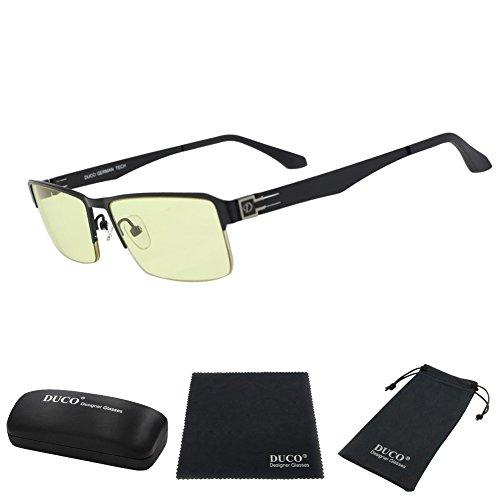 Duco Full Rim Ergonomic Advanced Computer Gaming Glasses with Amber Lens Tint 302