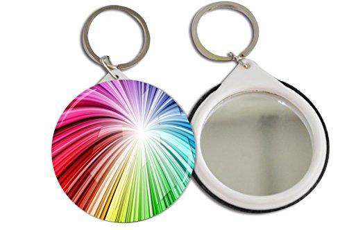 Rikki Knight Rainbow White Swirls Design Mirror Button 2.25 inch Key Chain (set of 2) (Swirl Button White)