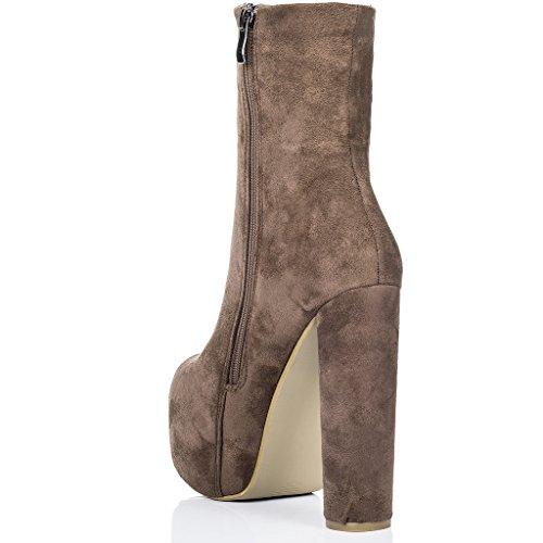 SPYLOVEBUY RUFFLE Mujer Plataforma Tacón Bloque Botes Bajas Zapatos Marrón - Gamuza Sintética