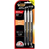 BIC Atlantis Bold Retractable Ball Pen, Bold Point (1.6mm), Black, 3-Count