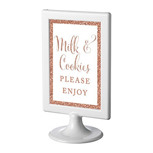 Andaz Press Framed Wedding Party Signs, Rose Gold Glitter, 4x6-inch, Milk and Cookies Please Enjoy, 1-Pack, Copper Champagne Colored Decorations -