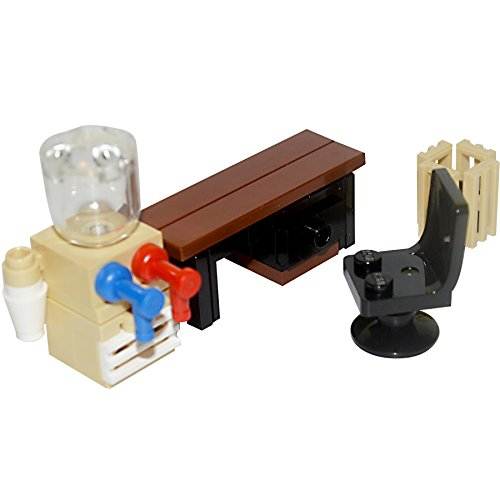 Interior Bricks Lego Furniture: Juego de Oficina colección – computadora, refrigerador de Agua, cenicero, Silla.