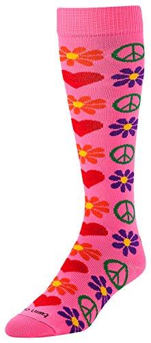 (TCK Sports Krazisox Love Peace Flowers Woodstock Socks, Hot Pink, Small)