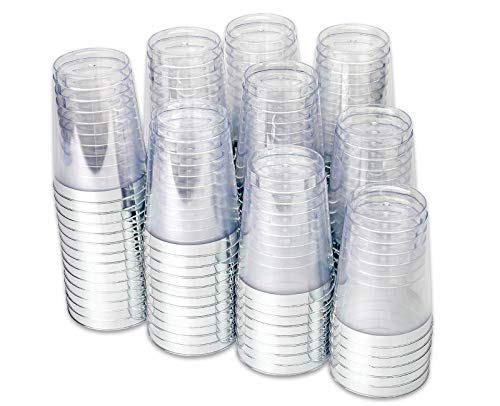 Grad 10 Oz Plastic Cups - 100 Silver Plastic Tumbler Cups - 10 oz Premium Disposable Clear Plastic Cups with Silver Rim for Weddings or Party (100 Silver Cups)