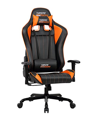 turismo racing sovrano series gaming chair big and tall black and orange seat has dual. Black Bedroom Furniture Sets. Home Design Ideas