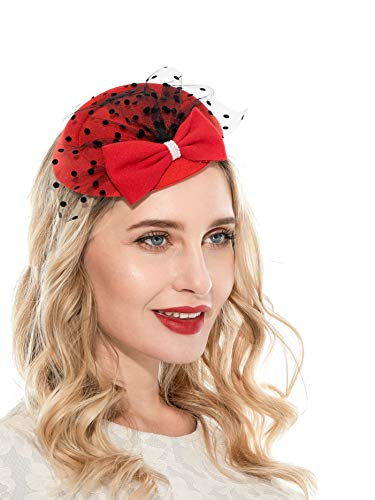 Fascinator Hats for Women 20s 50s Hat Pillbox Hat with Veil Headband Clip Tea Party Headwear (Red)