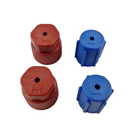 Dovewill Blue Red AC Charging Port R134a Side Air Conditioner Cap 13mm Blue & 16mm Brown Pack of (Blue Low Side Service Port)