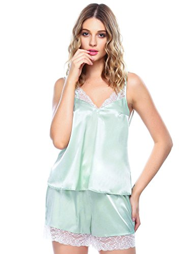 Goldenfox Women's Lace Trim Satin Charmeuse Camisole and Tap Panty Set (Blue, L)