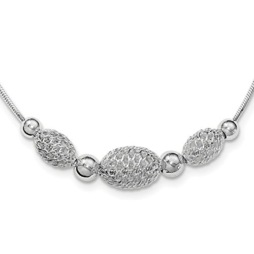 Large Filigree Beads Chain Necklace Pendant Charm Bead Station Fine Jewelry Gifts For Women For Her ()