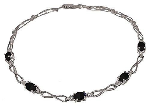 QP joailliers naturel & Diamant Bracelet en or blanc 9carats Saphir, 1,15Carats Coupe ovale-3905W