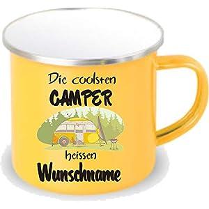 Crealuxe gelbe Emaille Tasse mit Rand Die coolsten Camper heißen Wunschname - Kaffeetasse mit Motiv, Campingtasse…